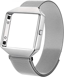 Metal Bands Compatible with Fitbit Blaze, Small and Large Stainless Steel Replacement Adjustable Band with Metal Frame for Fit bit Blaze Women Men,Silver Small