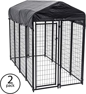Lucky Dog Uptown Large Outdoor Covered Kennel Heavy Duty Dog Fence Pen (2 Pack)