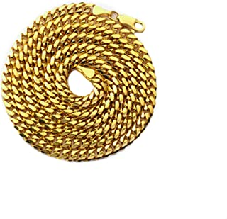 10K Yellow Gold 4mm Solid Miami Cuban Link Chain Necklace w/Lobster Lock, Available 16