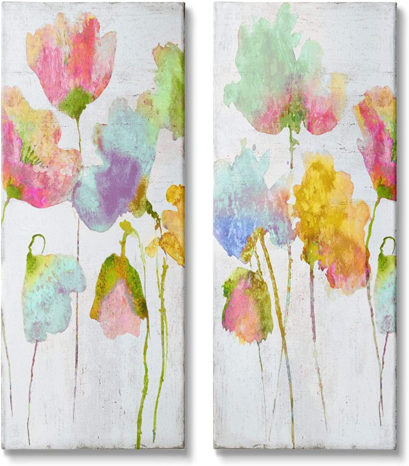 Stupell Industries Whimsical Multicolor Florals Blooming Yellow Pink Canvas Vanessa Austin Wall Art 2pc Each 13 x 30