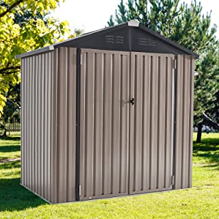 U-MAX 6' x 4' Outdoor Metal Storage Shed, Steel Garden Shed with Double Lockable Doors, Tool Storage Shed for Backyard, Pa...