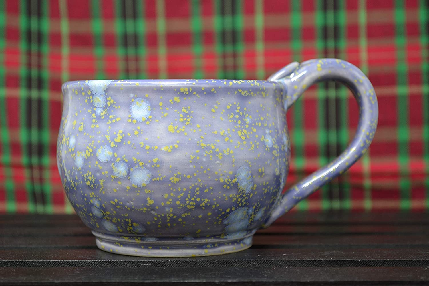 Handmade shopping White Stoneware Cup Mug Super sale Glazed in with Light Blue Cryst
