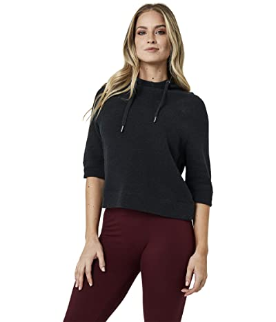 PACT Organic Cotton Cropped Funnel Neck Pullover (Charcoal Heather) Women