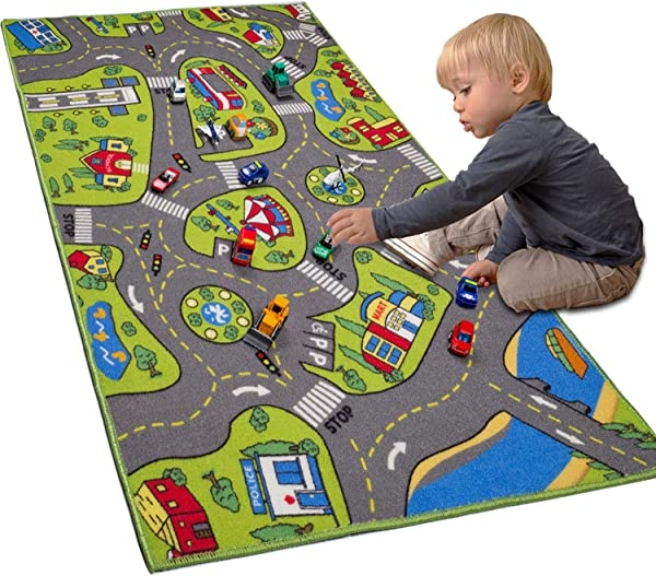 Large Kids Carpet Playmat Rug 32 X 52 With Non Slip Backing City Life Play Mat For Playing With Car Toy Game Area For Baby Toddler Kid Child Educational Learn Road Traffic In Bedroom Classroom