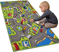 """LargeKids Carpet Playmat Rug 32"""" x 52"""" with Non-Slip Backing, City Life Play Mat for Playing with Car Toy, Game Area for ..."""