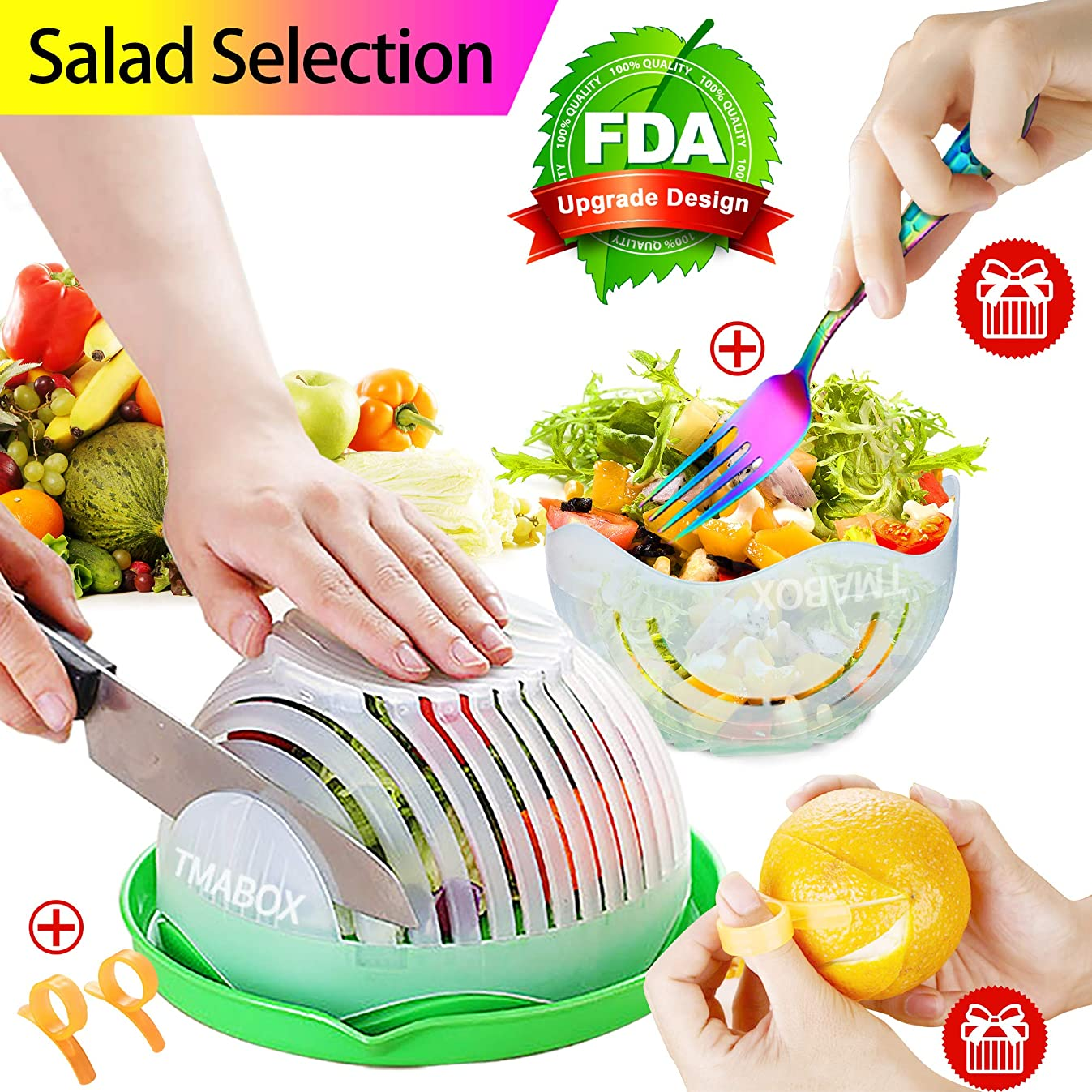 Salad Cutter Bowl,Fruit Vegetable Salad Chopper Bowl,Rainbow Fork Cutlery,Upgraded Easy Salad Make,Fresh Salad Slicer FDA-Approved