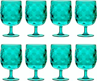 QG Set of 8 Colorful Stackable 12 oz Acrylic Plastic Drinking Glass Tumbler Set Blue