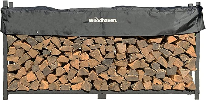 Woodhaven 8 Foot Firewood Log Rack with Cover - Welded Frame