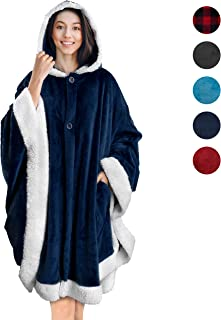 PAVILIA Angel Wrap Hooded Blanket | Throw Poncho Wrap with Soft Sherpa Fleece | Plush, Warm Wearable Blanket with Pockets for Women Gift (Navy)