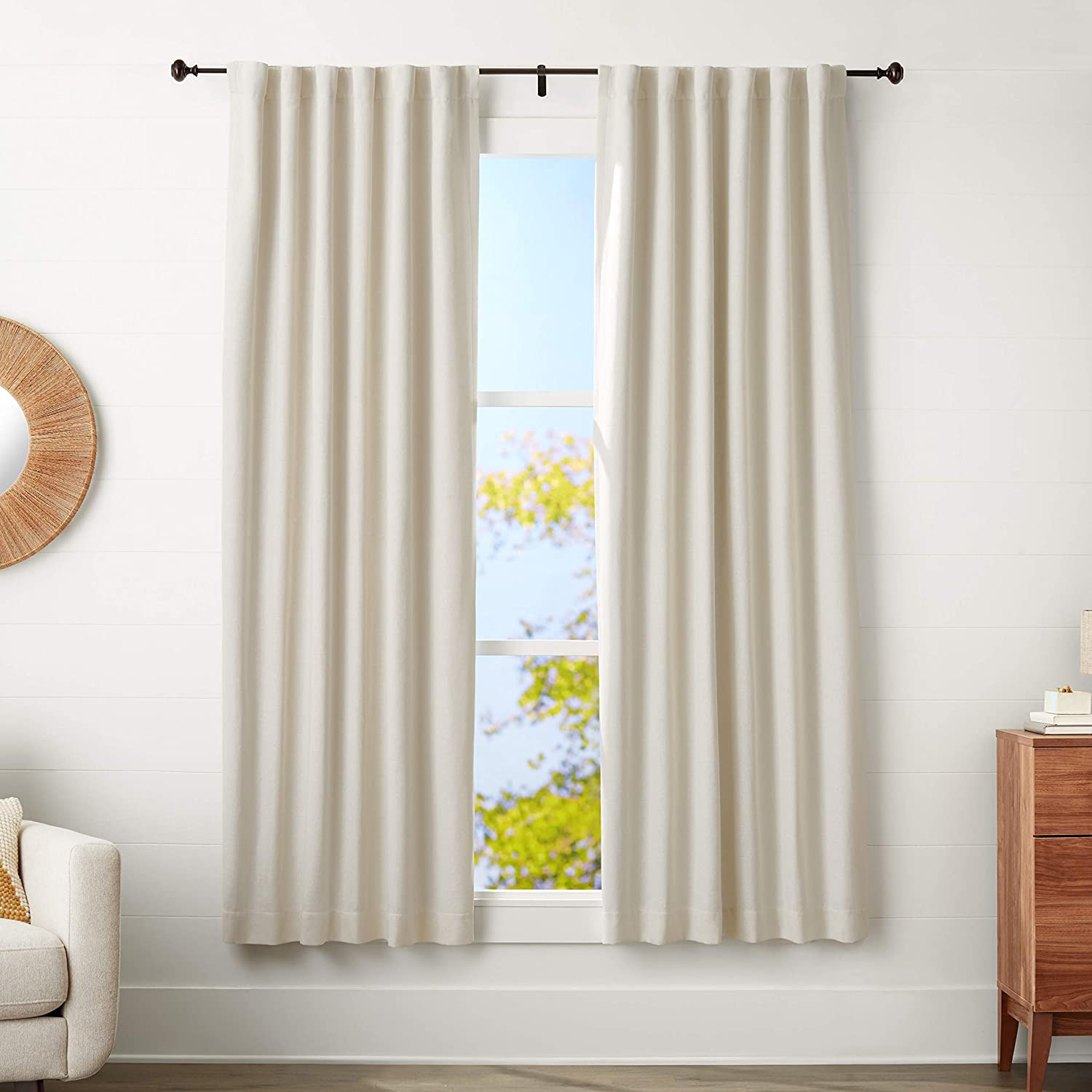 Amazon Basics 5 8-Inch Curtain Rod with - 48 NEW before selling ☆ 88 Rapid rise to Knob Finials