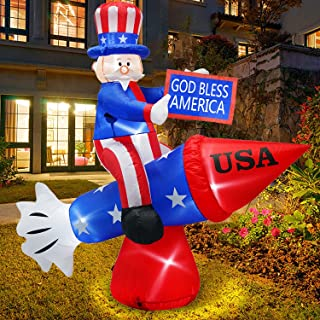 6.6 Foot Long Patriotic Independence Day 4th of July Inflatables Uncle Sam on Rocket, LED Blow Up Lighted Outdoor Decorati...