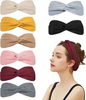 8 Packs Turban Headbands for Women No Slip Fashion Wide Workout Yoga Turban Cute Top Knot Headband Head Bands Gifts, Solid Color