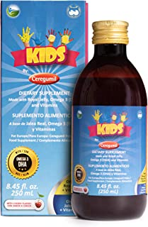 Ceregumil Kids Algae Omega 3 DHA Liquid Daily Multivitamin w/Vitamins C D3 B6 Cyanocobalamin B12 Physical Mental Development Royal Jelly for Growth & Development Excellent Child Nutrition - 250 mL