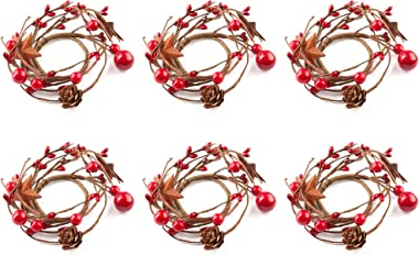 Factory Direct Craft Holiday Red Berries, Rusty Stars, and Pinecone Mini Candlerings (6 Pack)