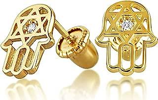 Tiny Minimalist CZ Accent Hamsa Star Of David Jewish Bat Mitzvah Stud Earrings For Teen Real 14K Gold Screwback