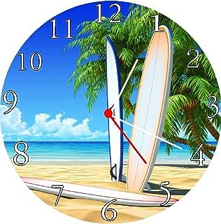 Quartz Surfboard Beach Scene Wall Clock