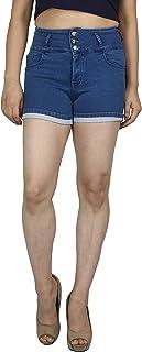 Airways Women's Stretchable Denim HotShort-8644-Black
