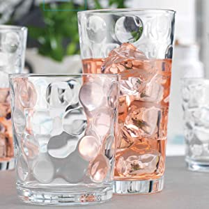 Drinking Glasses Set Of 16 - By Home Essentials & Beyond - 8 Highball Glasses(17 oz.), 8 Rocks Glass cups (13 oz.), Inner Circular Lensed Kitchen Glass Cups for Water, Juice and Cocktails.