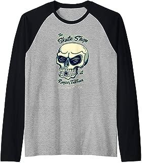 Tattoo Inspired Skateboard Shop Skull And Keystone Logo Raglan Baseball Tee