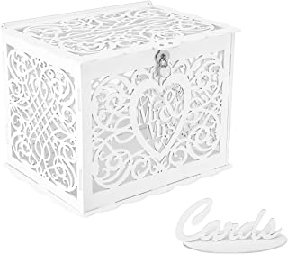 Mimacoo Wedding Money Box Holder with Sign, Large Rustic Wood Wooden DIY Envelop Gift Card Shadow Boxes with Lock Slot for Reception Anniversary (White)