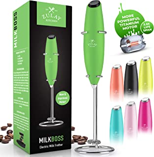 NEW TITANIUM MOTOR, FASTER, STRONGER & LONGER LASTING Milk Boss High Powered Milk Foamer for Coffee - Foam Frother for Bulletproof® Coffee, Handheld Frother and Mini Blender for Cappuccino, Frappe, Matcha, Hot Chocolate by - Zulay (Honeydew)