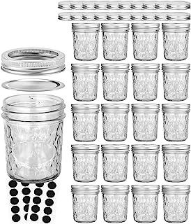 Mason Jars 6 OZ, VERONES 20 PACK 6oz Mason jars Canning Jars Jelly Jars With Lids, Ideal for Jam, Honey, Wedding Favors, S...