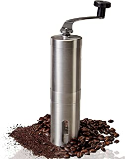 Manual Coffee Grinder – Adjustable Ceramic Conical Burr Coffee Bean Mill With Stainless Steel Body & Easy Hand Crank, Brewing Grinders for Office Home, Traveling Camping Consistent Grind French Press