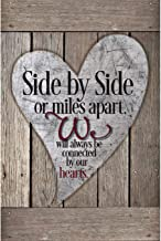 Friends Family Wood Plaque with Inspiring Quotes 6x9 - Classy Vertical Frame Wall & Tabletop Decoration   Easel & Hanging Hook   Side by Side or Miles Apart, We Will Always be Connected by Our Hearts