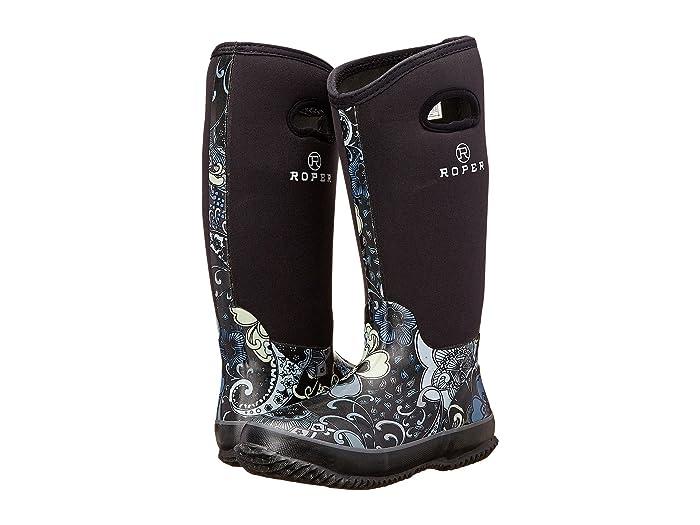 Roper  Flower Barn Boot (Black) Womens Rain Boots