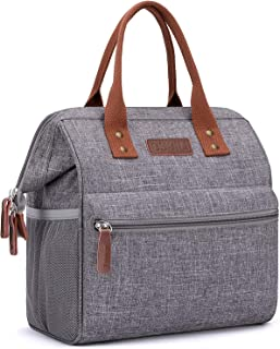 Insulated Lunch Bag, Wide-Open Lunch Box for Work/Picnic/Hiking/Beach/Fishing, Water-Resistant Leakproof Lunch Tote Bag for Women and Men (Grey)