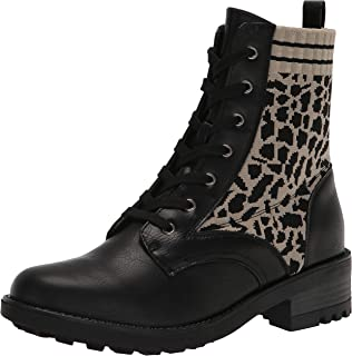 LifeStride Women's Knockout Ankle Boot, Black Leopard, 6 Wide