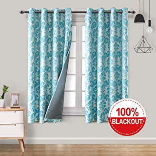 Homedocr 100% Damask Jacquard Blackout Curtains with Back Coating Thermal Insulated & Sun Blocking Faux Linen Room Darkening Window Curtains for Living Room, 52 x 63 Inches, Turquoise, 2 Drape Panels