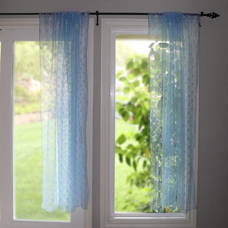 正規取扱店 lovemyfabric Floral Lace Window Curtain Panel 時間指定不可 Blue Sheer Light L