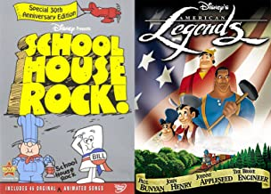 American Animated Cartoons Disney Legends DVD & School House Rock Math / Grammar / Election / History Knowledge is Power Pack
