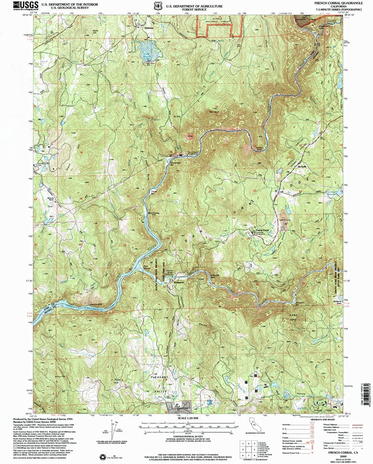 French Corral CA topo map, 1 24000 Scale, 7.5 X 7.5 Minute, Historical, 2000, Updated 2003, 26.6 x 21.4 in
