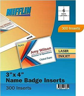 Mifflin Name Badge Inserts, 3