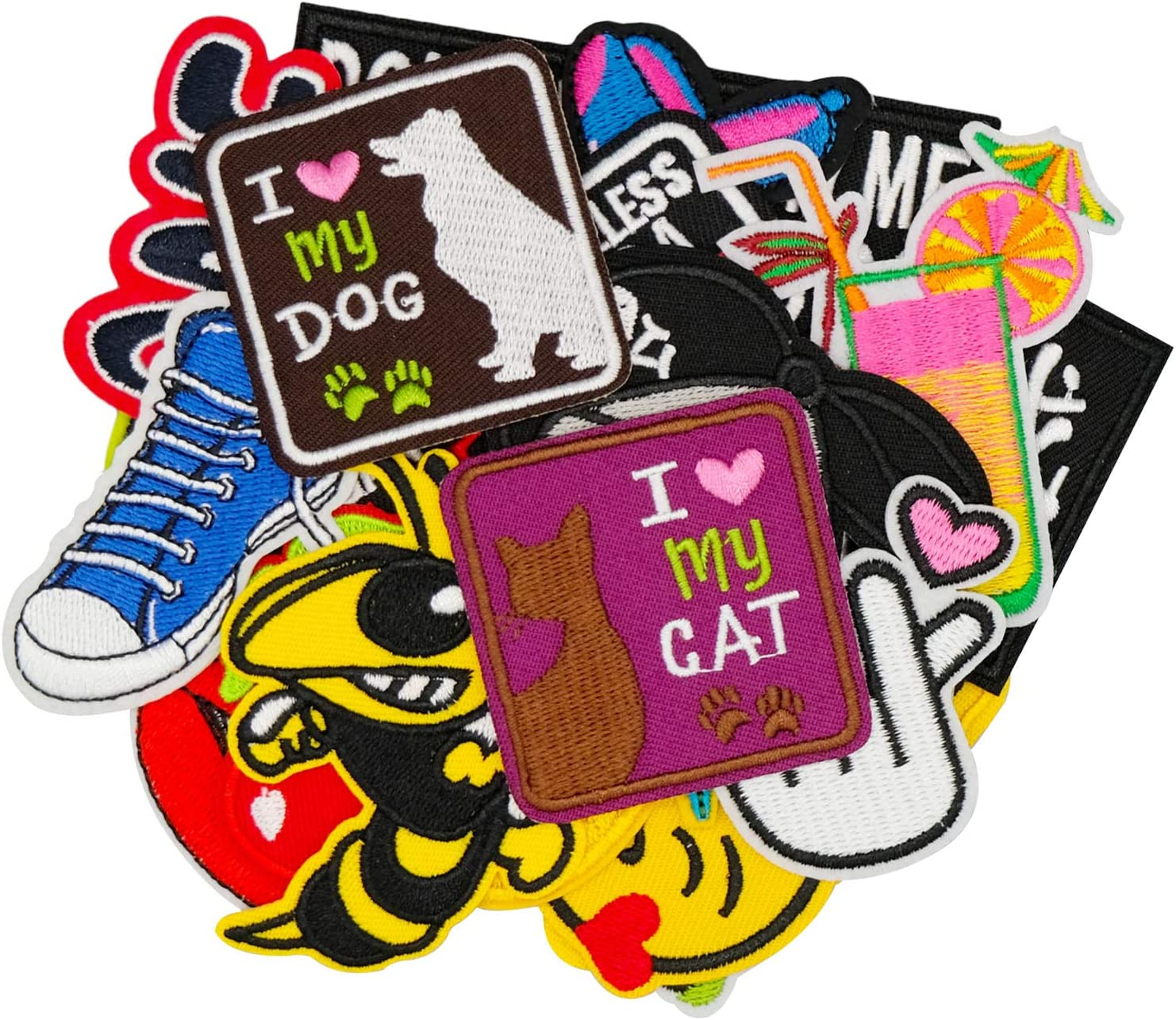 Wappen-03-70Pcs Wlkq Wappen-03 Embroidered Patch Accessories Assorted Size DIY Patches Sew On//Iron On Patches Applique for Jackets Jeans Pants Backpacks Clothes 70Pcs