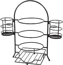 حامل أطباق ثلاثي الطبقات مع حامل أدوات مائدة قابل للإزالة من كريتيف هوم 50273 - اسود