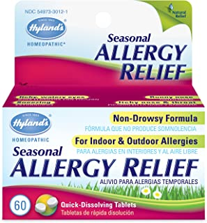 Allergy Pills by Hyland's, Non Drowsy Seasonal Allergy Relief, Safe and Natural for Indoor & Outdoor Allergies, 60 Quick D...