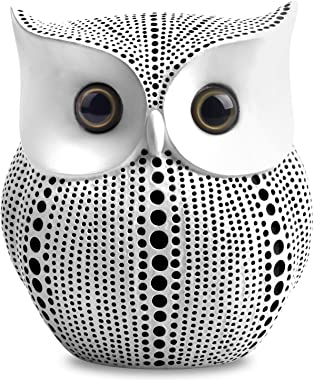 Owl Statue Decor (White) Small Crafted Buho Figurines for Home Decor Accents, Living Room Bedroom Office Decoration, Book She