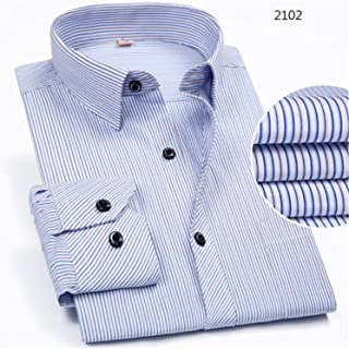 470f7582155 Men Turndown Collar Long Sleeve Striped Shirts with Chest Pocket Tops