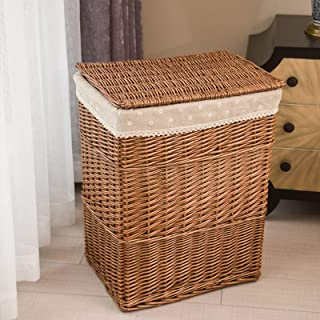 Willow Large Capacity Storage Basket With Lid,Hand-woven Waterproof Storage Box With Lining,Clothing Toys Storage Containe...