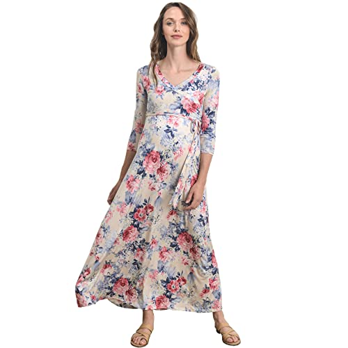 b9df63f8ecb Hello MIZ Women s Floral Print Draped 3 4 Sleeve Long Maxi Maternity Dress