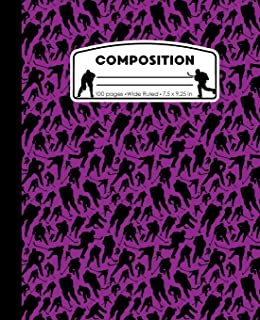 Composition: Hockey Purple Marble Composition Notebook. Ice Hockey Player Wide Ruled Book 7.5 x 9.25 in, 100 pages, journal for girls boys, kids, elementary school students and teachers