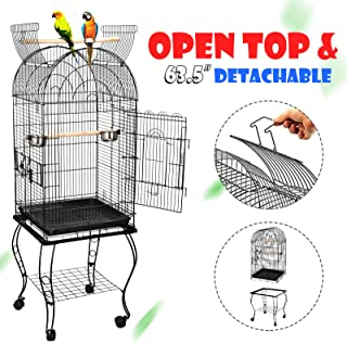 ZENY 63.5'' Large Bird Cage Dome Open Top Parrot Cockatiel Sun Parakeet Green-Cheek Conure Cage with Detachable Rolling Stand