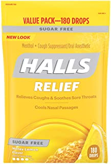 HALLS Sugar Free Honey Lemon Flavor Cough Drops, 1 Bag (180 Total Drops)