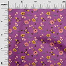 oneOone Velvet Pink Fabric Leaves & Flowers Floral Quilting Supplies Print Sewing Fabric by The Yard 58 Inch Wide