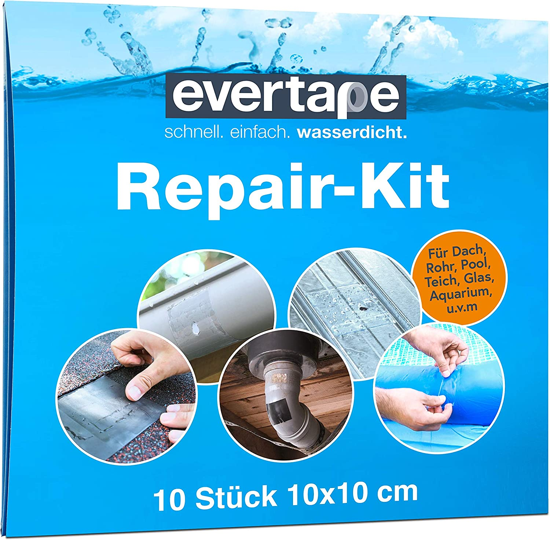Everfix Evertape Kit de reparación de cinta adhesiva, impermeable, para sellado y reparación, también se puede utilizar en superficies mojadas y bajo el agua (10 cm x 150 cm)