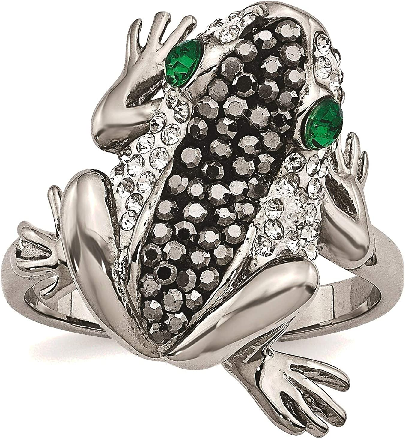 Bonyak Jewelry Stainless Very popular! Steel Polished Crystal with 2021 model i Ring Frog
