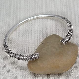 Sterling Silver Boho Thick cuff Bracelet, Handmade adjustable solid Silver engraved Bangle for Women or Men